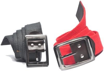 ARIP Men, Boys Formal Grey, Red Canvas Belt