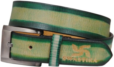 Swastika Men Casual Green Genuine Leather Belt