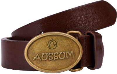 AUSSUM Men Casual, Party, Formal Brown Artificial Leather Belt