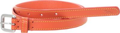 Ilina Women Casual Orange Metal, Genuine Leather Belt