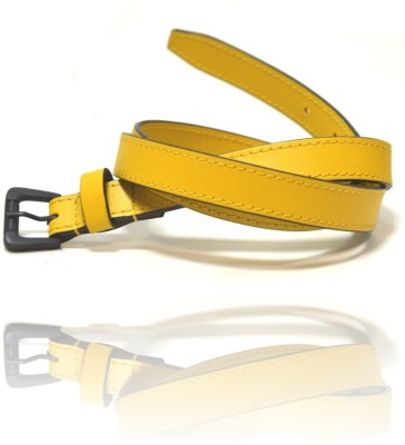 Ccha Women Casual Yellow Artificial Leather Belt