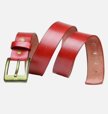 99Cells Men, Women Casual Red Genuine Leather Belt