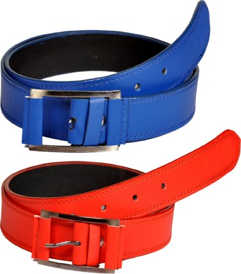 Swan Collection Boys, Men Casual, Formal, Evening Red, Blue Artificial Leather Belt