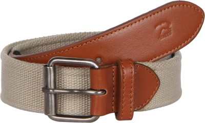 Kaizu Men Casual Beige Canvas, Genuine Leather Belt