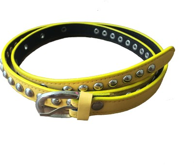 DEWY Women Casual Yellow Artificial Leather Belt