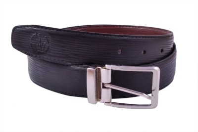 AER LEATHER Boys, Men Formal, Evening, Party Black Artificial Leather Reversible Belt