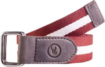 Hidegear Men Casual Brown, White Genuine Leather, Canvas Belt