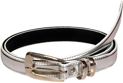 Swan Collection Girls, Women Casual, Formal Silver Artificial Leather Belt
