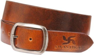 Swastika Men Formal Maroon Genuine Leather Belt