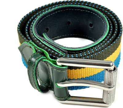 Frow Men Green, Yellow, Blue Canvas, Genuine Leather Belt