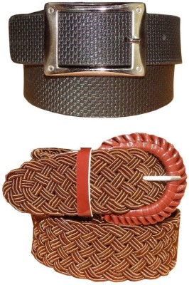 Ansari Men, Women Black, Brown Genuine Leather, Fabric Belt