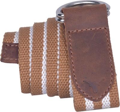 HIDEKRAFT Men Casual Tan, White Canvas Belt