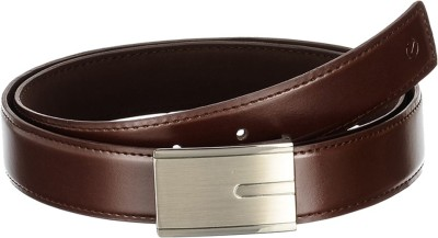 Osaiz Men, Boys Formal Brown Artificial Leather, Metal Belt