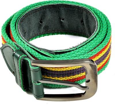 Frow Men Multicolor Canvas, Genuine Leather Belt