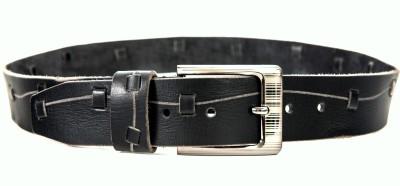 Quero Men Casual Black Genuine Leather, Metal Belt