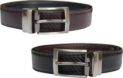 Bacchus Men Formal Black, Brown Artificial Leather Reversible Belt