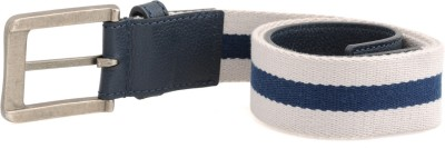 tZaro Men Casual Blue, White Metal, Genuine Leather, Fabric Belt