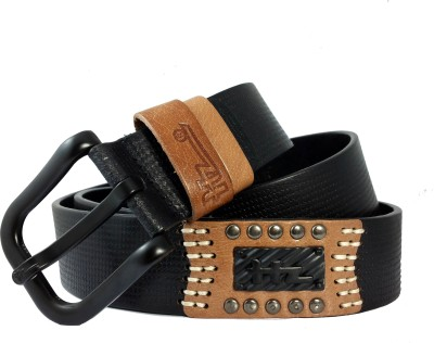 Ammvi Creations Men Casual Black Genuine Leather Belt