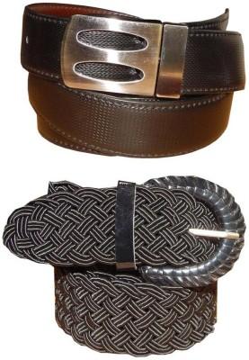 Ansari Men, Women Brown, Black Genuine Leather, Fabric Belt