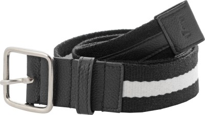 tZaro Men Casual White, Black Fabric, Genuine Leather, Metal Belt