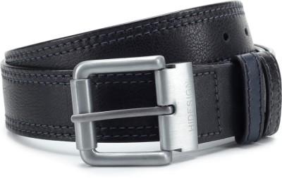 Hidesign Men Blue, Black Genuine Leather, Metal Reversible Belt