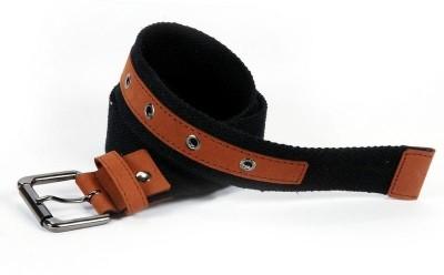 Aadaana Casual Black Genuine Leather, Canvas Belt