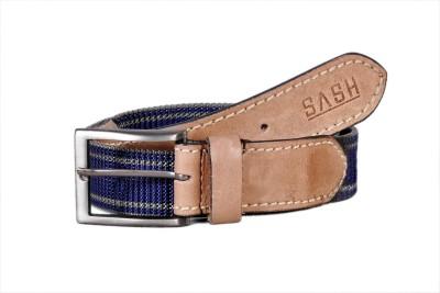 Sash Men Casual Beige, Blue Genuine Leather, Canvas Belt