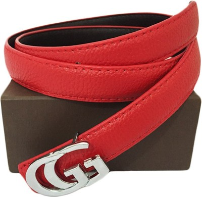 Zaira diamond Women Red Genuine Leather Belt