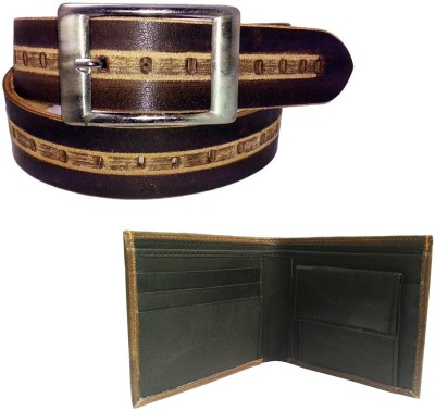 Sanshul Men Casual Beige, Brown Genuine Leather Belt