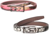 Spairow Girls Pink, Black Synthetic Belt