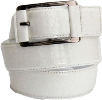 kamalgarments Men White Artificial Leather Belt