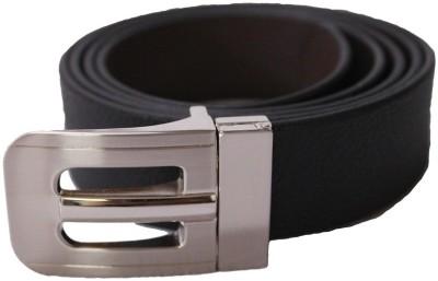 KRG ENTERPRISES Men Formal Black Genuine Leather Reversible Belt