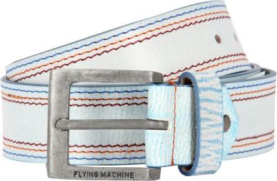 Flying Machine Men White Genuine Leather Belt