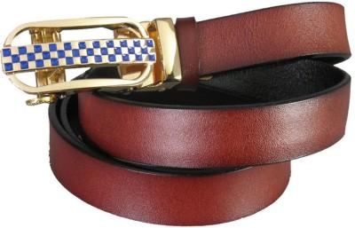 Lion Heart Girls Casual Maroon Genuine Leather Belt