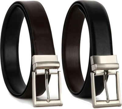 YOURS LUGGAGE Men, Boys Casual, Party, Formal Black, Brown Synthetic, Artificial Leather, Genuine Leather Reversible Belt