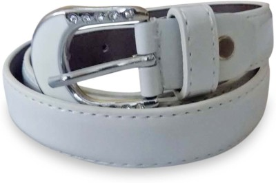 Rege Girls Casual White Artificial Leather Belt