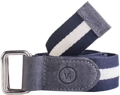 Hidegear Men Blue, White Genuine Leather, Canvas Belt