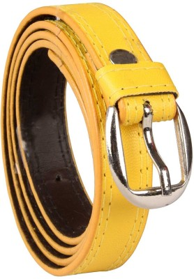 Harp Boys, Men, Girls, Women Casual, Party, Formal, Evening Yellow Artificial Leather Belt