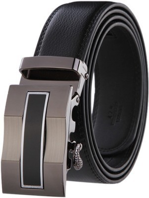 pardhan Boys Black Genuine Leather Belt