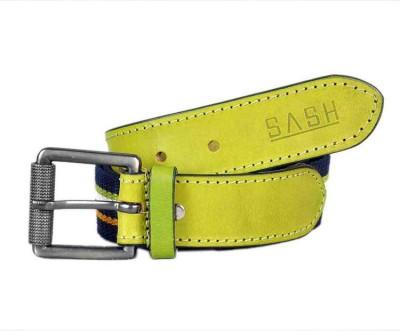 Sash Men Casual Green, Blue Genuine Leather, Canvas Belt