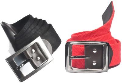 ARIP Men, Boys Formal Black, Red Canvas Belt