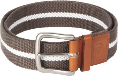 Kaizu Men Casual Brown Canvas, Genuine Leather Belt