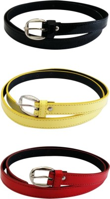 Verceys Girls, Women Casual Black, Red, Yellow Artificial Leather Belt