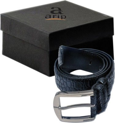 ARIP Men, Boys Formal Black Texas Leatherite Belt