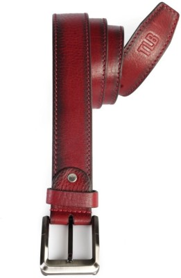 TLB Men Casual Red Genuine Leather Belt