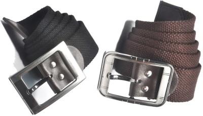 ARIP Men, Boys Formal Black, Brown Canvas Belt