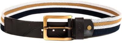Randier Men Casual Black Canvas, Genuine Leather Belt