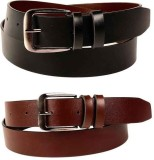 SRT Men Black, Brown Genuine Leather Belt
