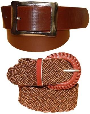 Ansari Men, Women Brown Genuine Leather, Fabric Belt