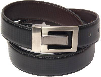 Buckle Up Men Formal Black Artificial Leather Reversible Belt